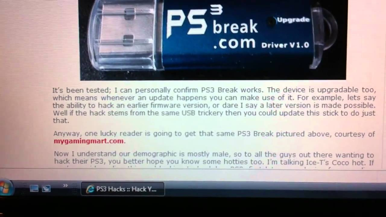 PS3 Jailbreak exploit hack USB Mod