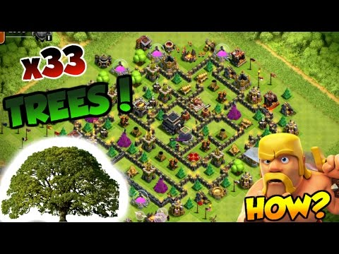Clash Of Clans| 33 TREES IN THE CENTER OF THE BASE? | HOW IS THIS POSSIBLE!? |