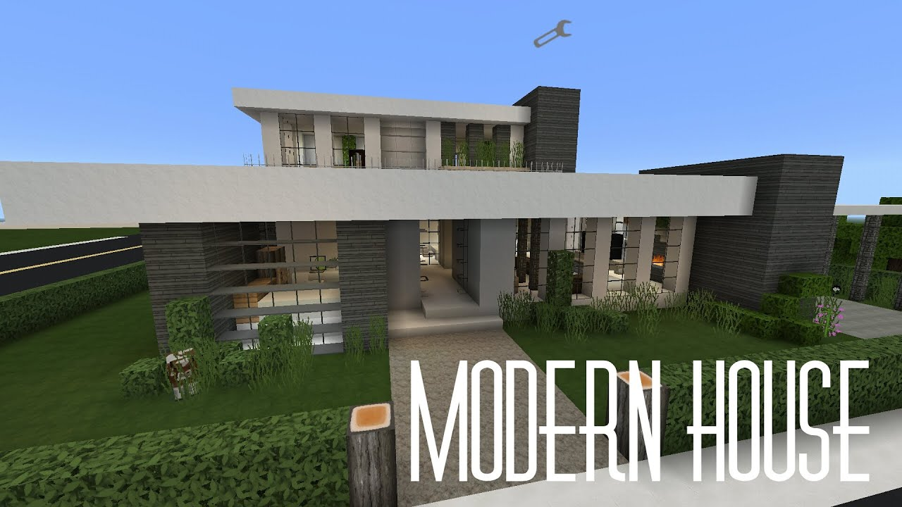 Minecraft pe house showcase modern house w flows for Modern house minecraft pe