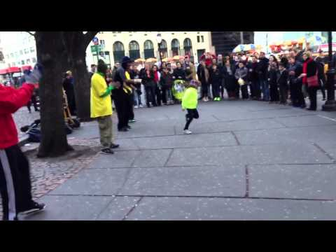 NYC break dancing with little girl who steals the show