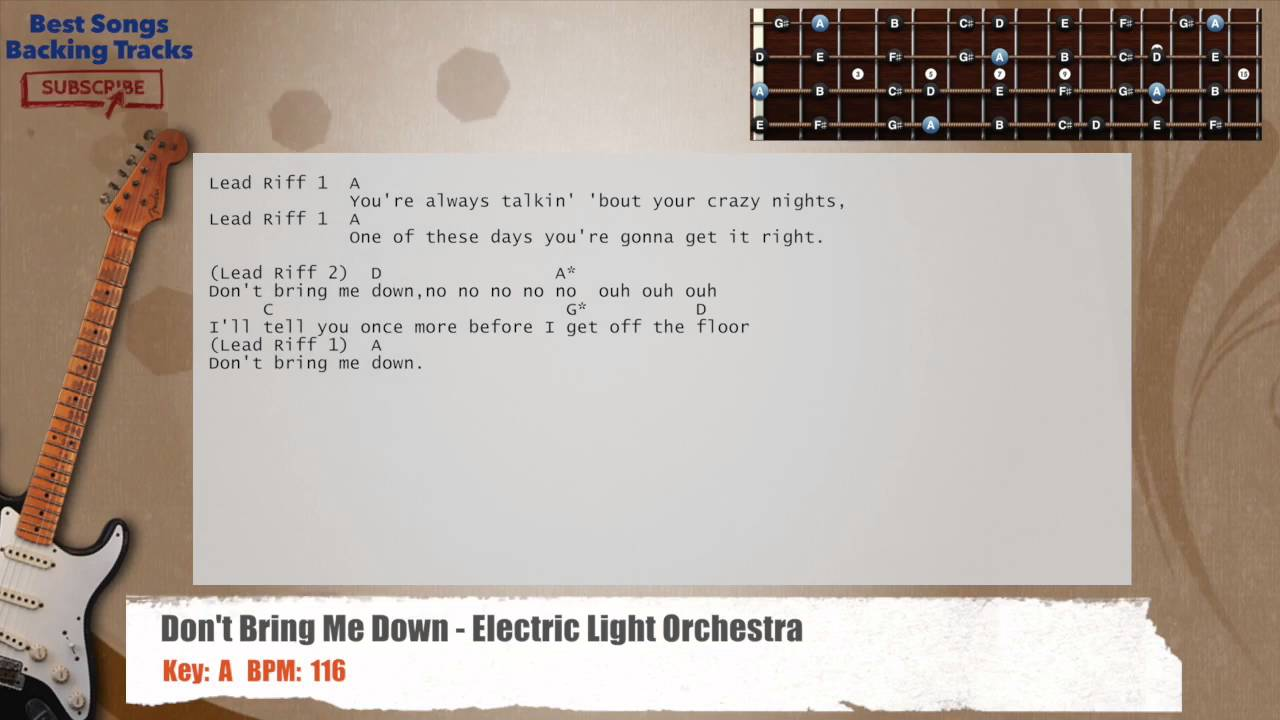 Dont Bring Me Down Electric Light Orchestra Guitar Backing Track