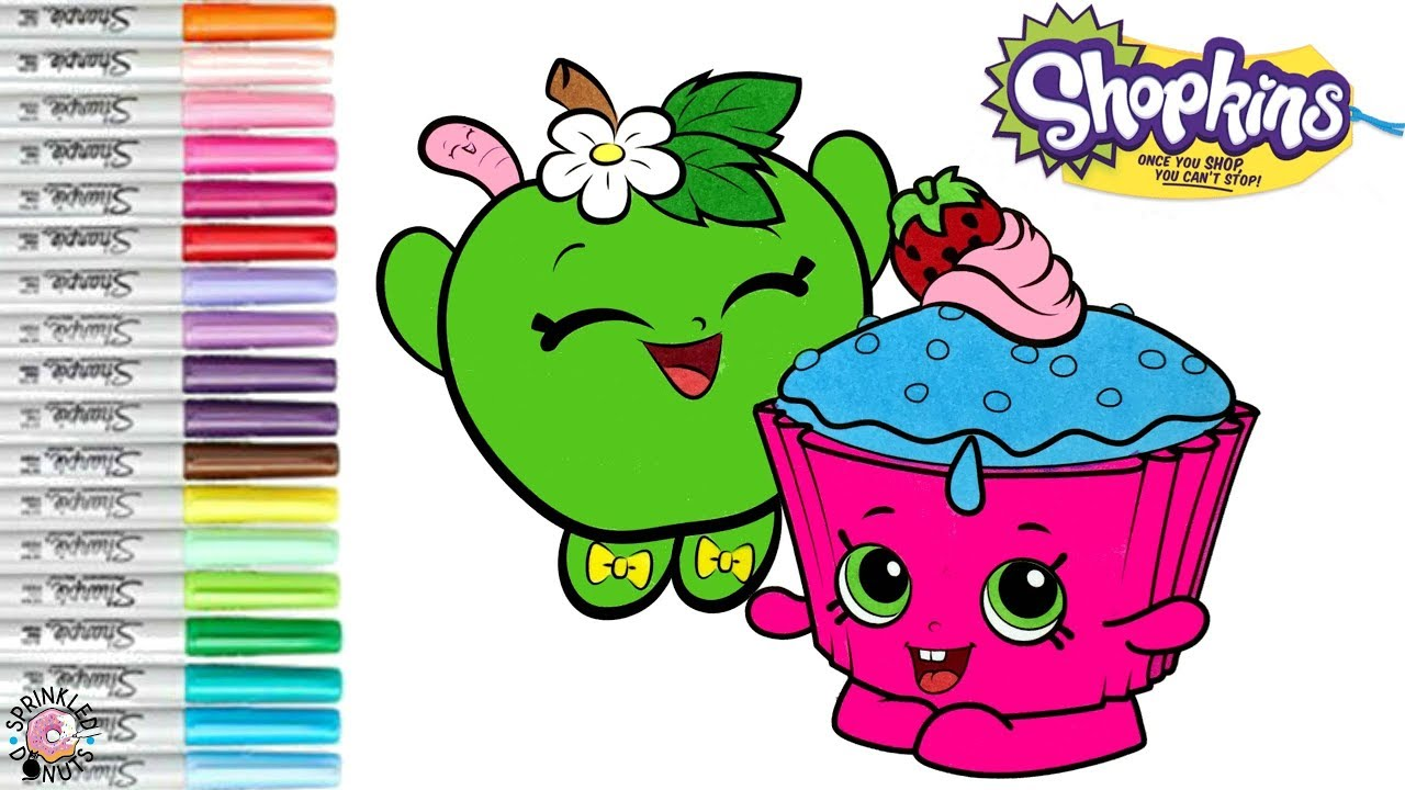 Shopkins Coloring Book Page Apple Blossom Cupcake Chic Coloring