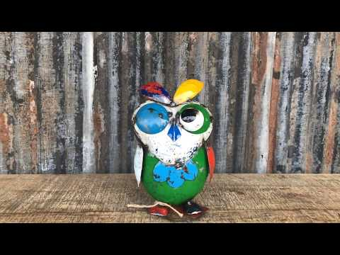 Recycled Metal Owl Ornament