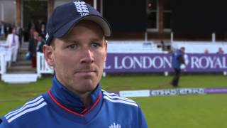 Eoin Morgan reacts to controversial Ben Stokes dismissal at Lord
