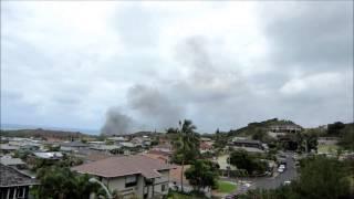 Smoke from Aircraft crash at Bellows Air Force Station