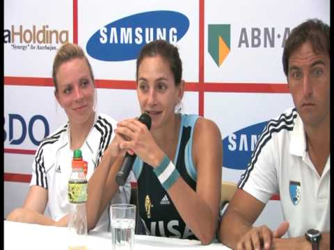 Luciana Aymar at Press Conference following England's 2-1 victory over Argentina
