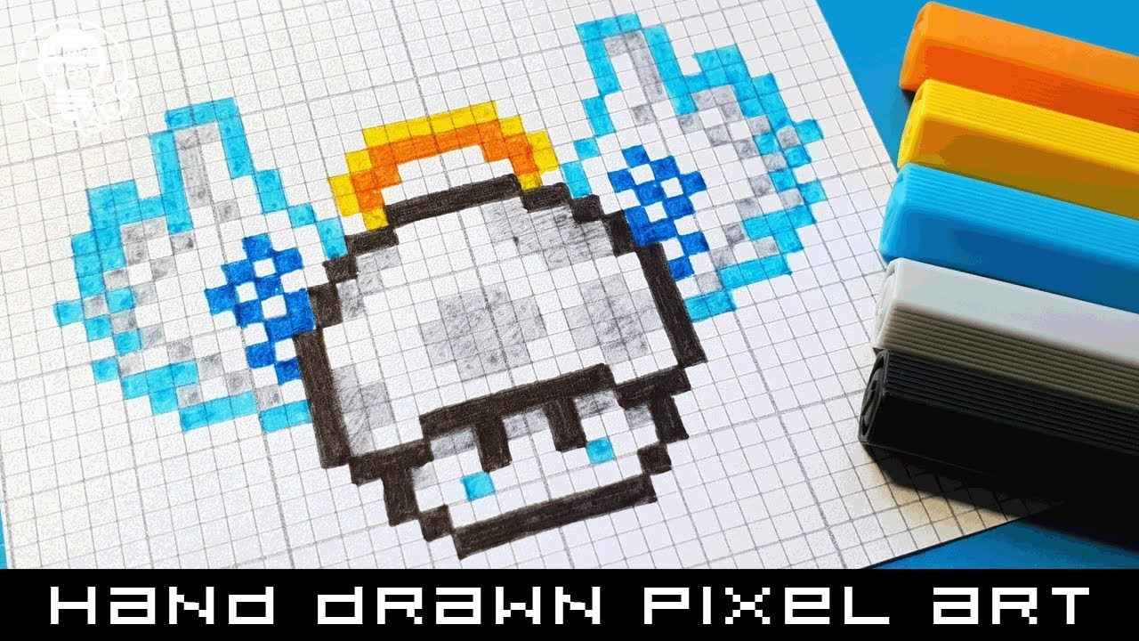Hand Drawn Pixel Art Speedpaint How To Draw An Angel Mushroom Mario Bros Pixelart Speedpaint