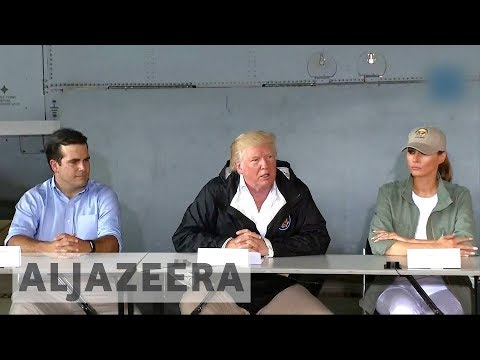 Trump praises himself in first visit to storm-torn Puerto Rico