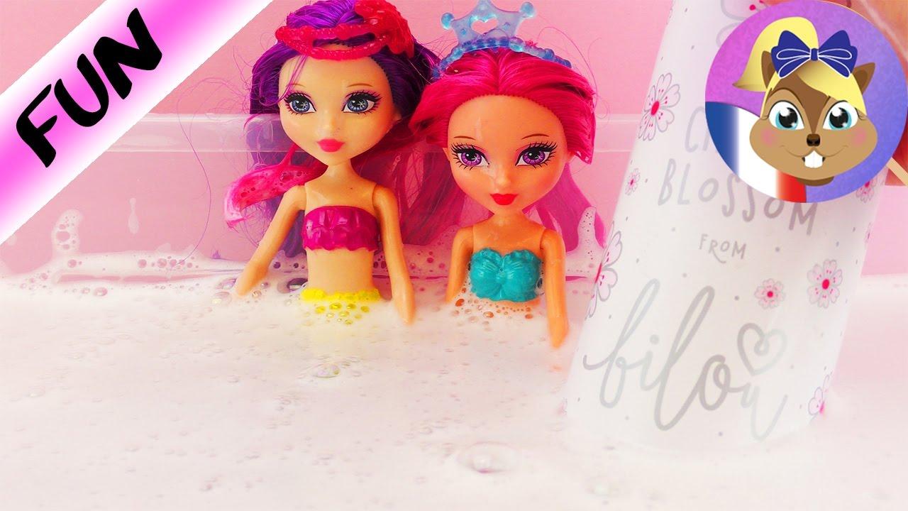 Pate A Modeler Pour Le Bain barbie mini sirènes avec bilou cherry blossom   s'amuser dans le bain avec  de la mousse pour le bain