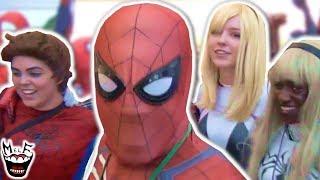 EPIC SPIDER-VERSE FLASH MOB vs COMIC CON! Spider-Man, Joker, Deadpool - MELF