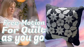 How To Quilt As You Go: Free Motion Quilting - Sketchy Applique! (Beginner Friendly)