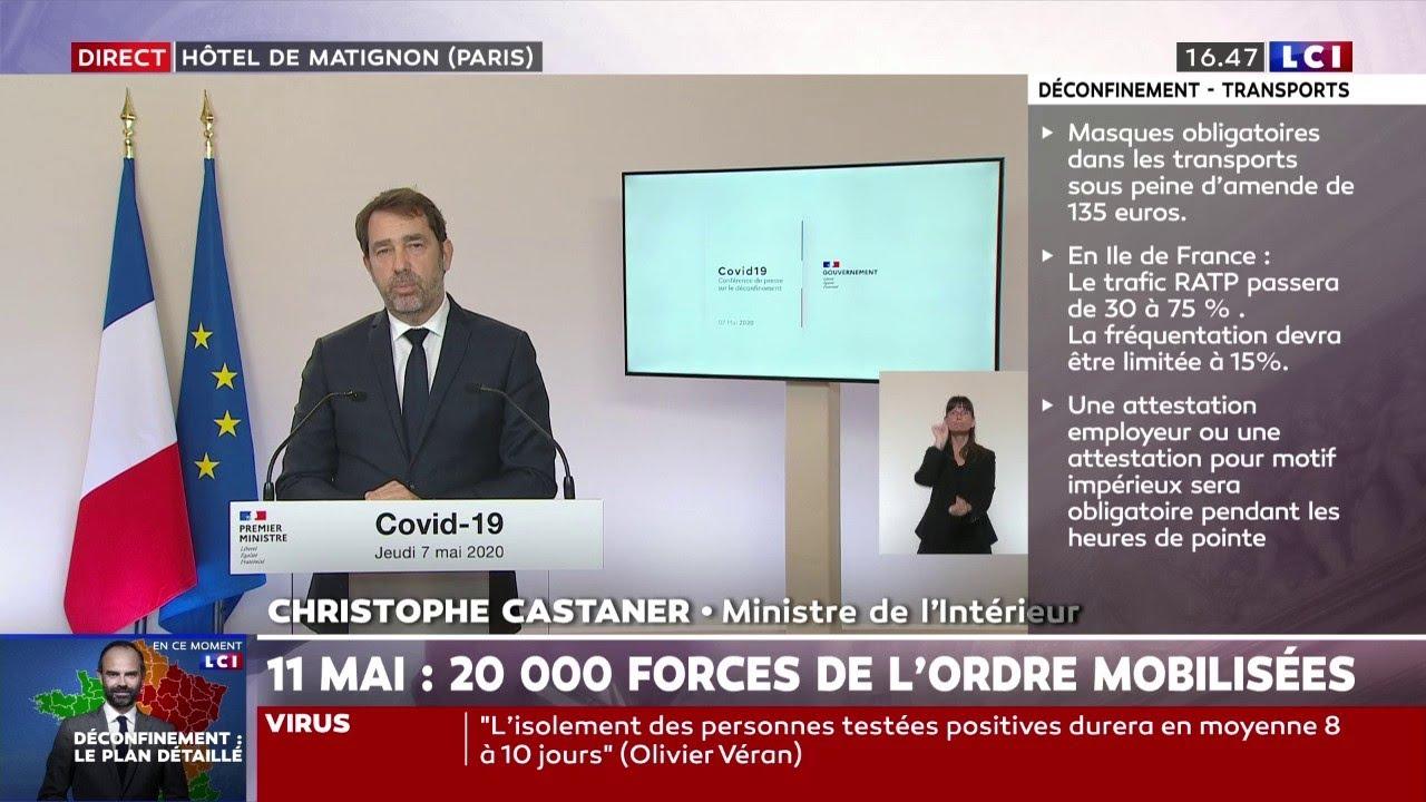 Christophe Castaner Ces 100 Km Seront Calcules A Vol D Oiseau A Partir Du Lieu De Residence Youtube