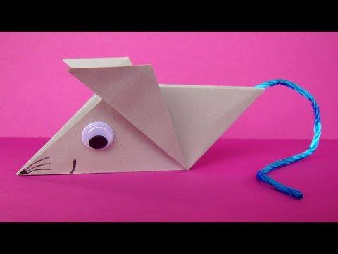 Origami Maus falten - Einfache Origami Tiere aus Papier basteln mit Kindern