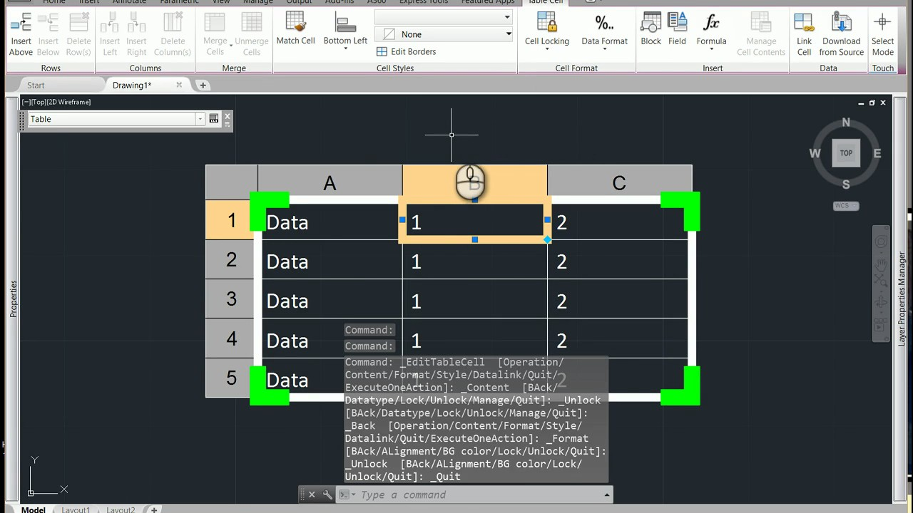 Drawing Lines Excel Spreadsheet : Linking a excel file into autocad youtube