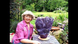 Draped Doily Lacy  Portland Cement Flower Pot in Ga.U.S.A.