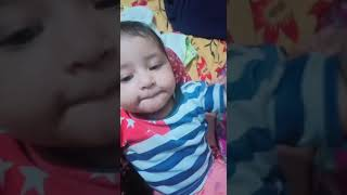 Cute baby talking in front of camra