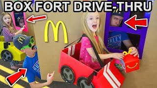 Driving to McDonalds Box Fort Drive Thru in Cardboard Box Cars and Chick Fil A!