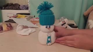 Новогодний снеговик из носка своими руками часть 2. Как сделать снеговика мастер класс
