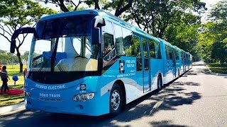 Hybrid electric road train, seen as solution to mass urban transport problem