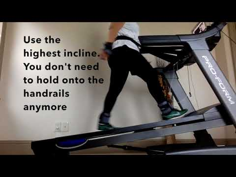 Use the treadmill highest incline w/o holding on the handrails I Prevent treadmill accidents