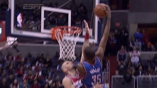 Kevin Durant poster dunk on Marcin Gortat: Oklahoma City Thunder at Washington Wizards