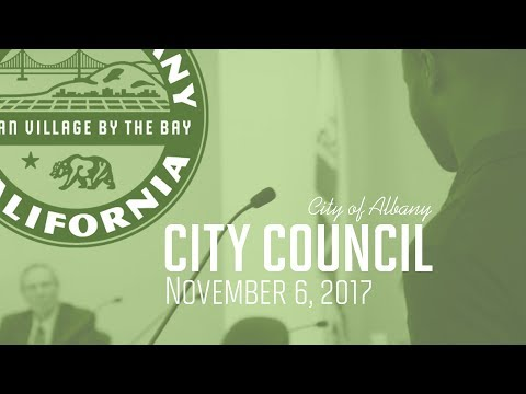 Albany City Council Special, Study Session and Reg. Meeting - Nov. 6 2017