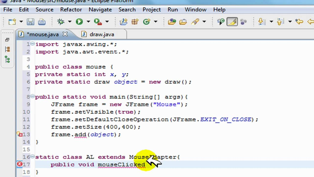 Drawing Lines In Java Gui : Java swing gui tutorial mouse action listeners creating