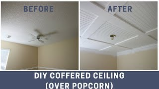 How to Cover a Popcorn Ceiling with a DIY Coffered Ceiling
