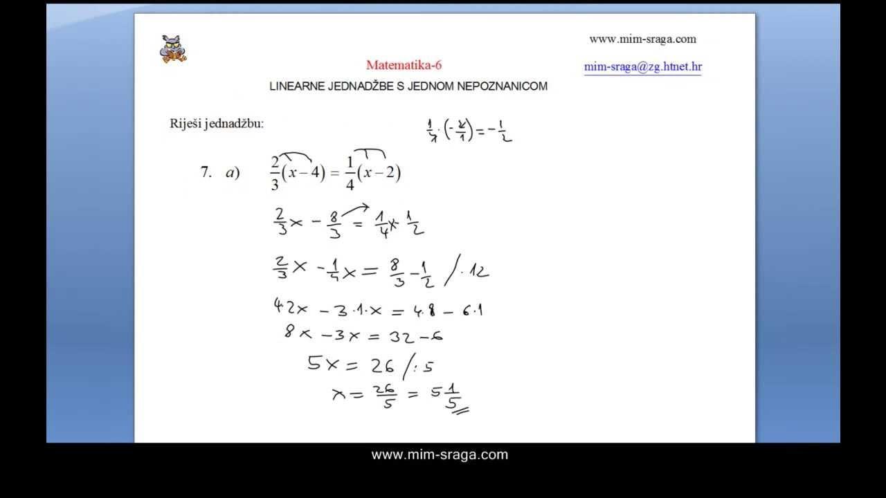 Matematika 6 Linearne Jednadzbe Vjezba Br 7 Zbirka Potpuno Rijesenih Zadataka Youtube
