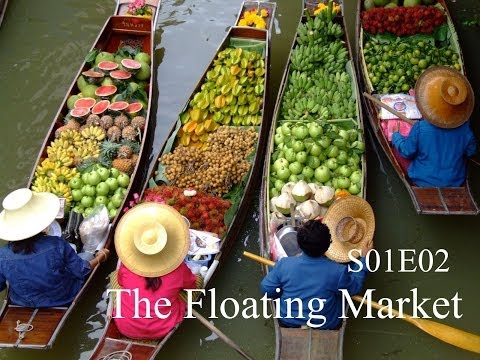 Drive through the floating market, Bangkok, Thailand