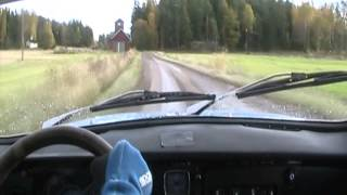 Saab 96 V4 Rally on special stage, incar video(Driver Tomi Tikanmäki. Video by Jent Motorsport Video. http://www.saabworks.fi., 2013-02-10T22:31:28.000Z)