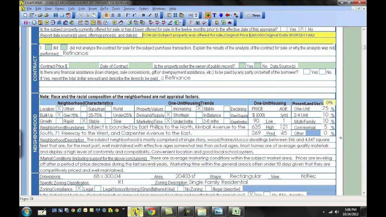 Appraisal report appraisal report data entry for House appraisal