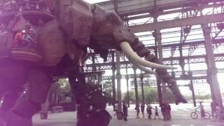 L'éléphant mécanique géant de Nantes barrit