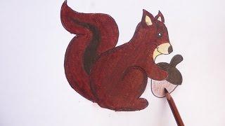 Dibujando y pintando una ardilla - Drawing and painting a squirrel