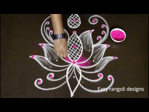 How to draw easy lotus rangoli designs with color    simple kolam designs with dots    muggulu1