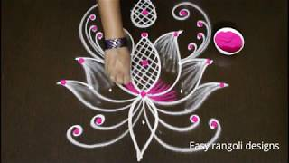 How to draw easy lotus rangoli designs with color || simple kolam designs with dots || muggulu1