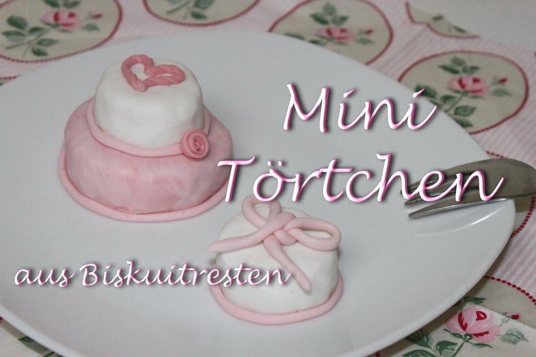 Zweistckige Torte im Miniformat  kleine Fondant Trtchen