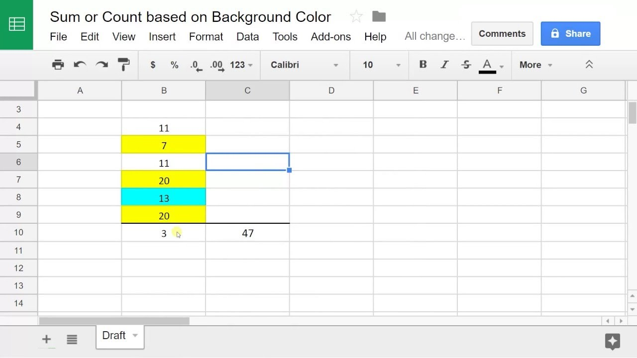 Google Sheets - Sum or Count Values Based on Cell Color