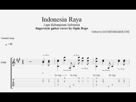 Indonesia Raya TAB - acoustic fingerstyle guitar tab - PDF - Guitar Pro