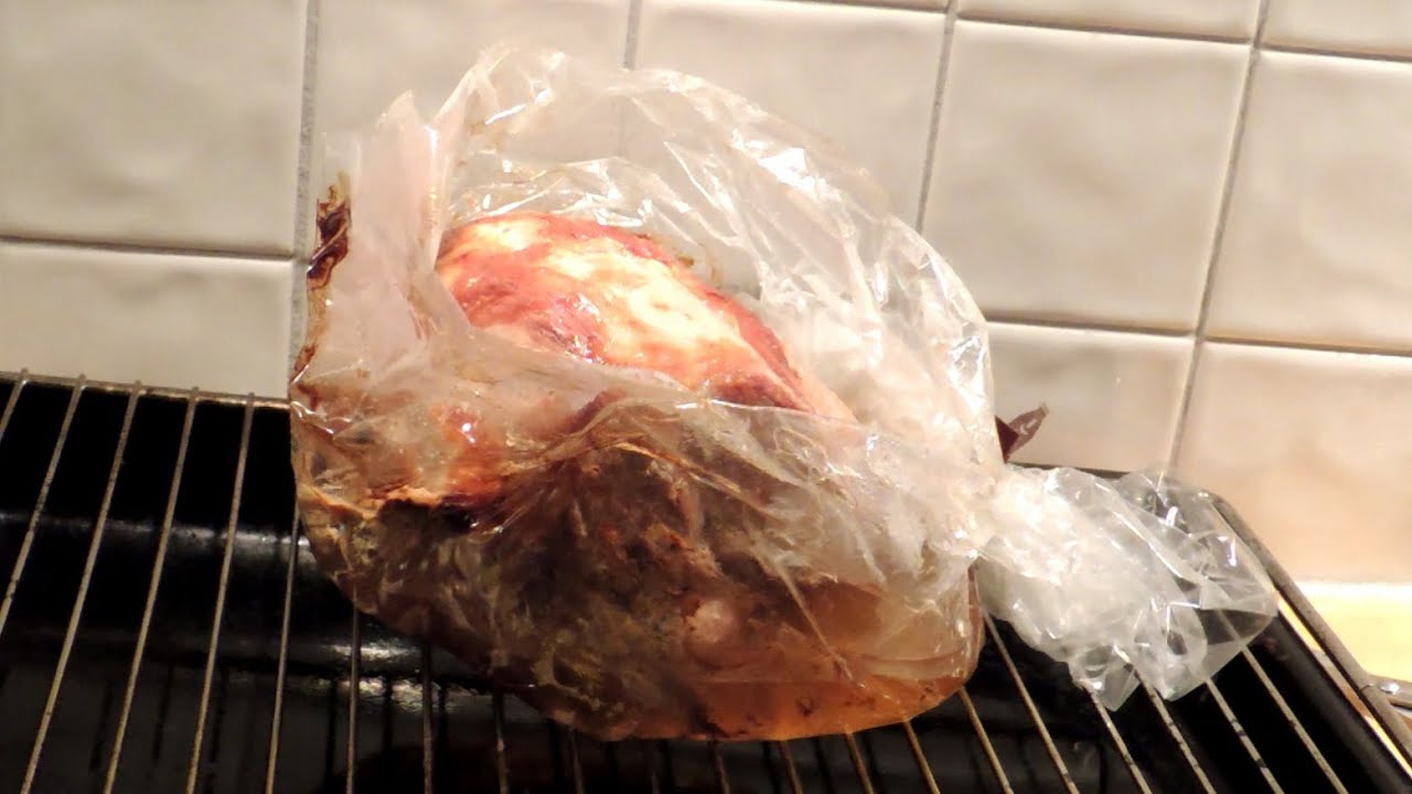 Pork Shoulder Cooked In Oven Bag A Plastic Bag Used For The
