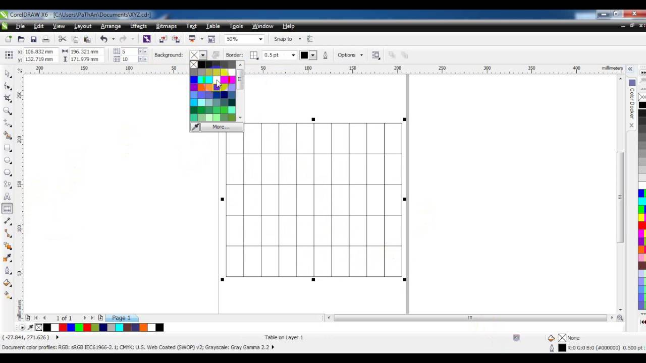 How to Draw table in Coreldraw X6 Tutorial