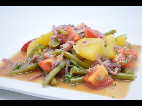 Salade Liégeoise, a very old authentic Belgian speciality - Green beans, potatoes, tomatoes, bacon