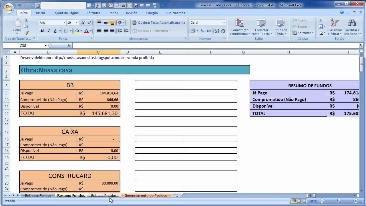planilhas de controle de gastos de obra versão 1 3 atualizado em