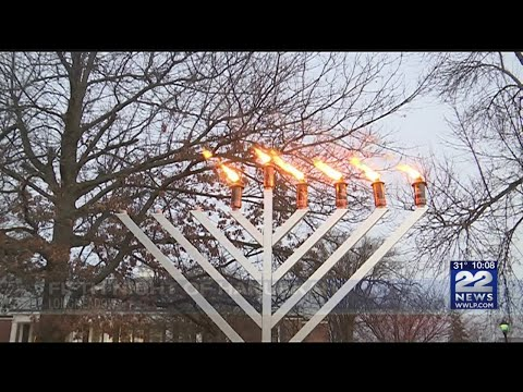 Grand menorah lit on Longmeadow Town Green in celebration of fifth night of Hanukkah