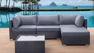 Beliani Pollyrattan Garden Sofa - Black Wicker Set - Aluminium Frame - Sano - Eng