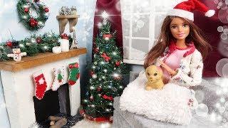 DIY Cristmas Crafts for Kids | XMAS Barbie Dollhouse Room Miniatures