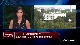 President Donald Trump abruptly leaves press briefing