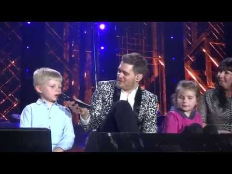 Michael Buble let it go/ you got a friend in me brings kids on stage
