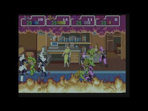 Teenage Mutant Ninja Turtles TMNT playthrough Konami 4-players arcade game -Not MAME- HD