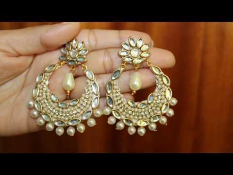 How to Make Party Wear Pearl Paper Base Earring/Designer Kundan chandbali Earring Making.. ..